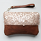 Sequin clutch, wristlet, zipper pouch, light gold sequins and leather