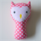 Owl Rattle Pink Polka Dots