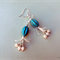 The Ballet - earrings - oval carved blue magnestie, cream thread, lustre czech