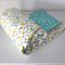Cot Quilt or Playmat Sweet Garden Aqua GOT certified Organic cotton - Gift