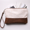 Sequin clutch, wristlet, zipper pouch, ivory sequins and leather