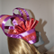 Space Continuum...Race Day Fascinator  Head Dress Purple Metallic Red Roses