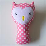 Owl Rattle Pink Polka Dots