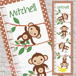 (Cheeky Monkey) Personalised Fabric Height Chart 30x106cm