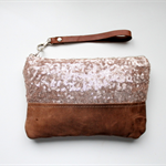 Sequin clutch, wristlet, zipper pouch, champagne sequins and leather