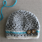 Baby beanie - newborn, crochet, boy or girl, grey alpaca/wool