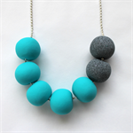 Turquoise and grey granite polymer clay bead necklace