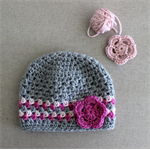 Baby beanie - girls, pink & grey, crochet, alpaca wool