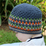 Baby beanie - crochet stripes, boy, pure wool