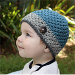Baby beanie - boys, pure wool, crochet