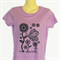Retro Butterfly & Flower Print Purple TShirt - screen print -ladies sizes avail