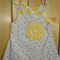 Pale blue stripe floral print pinafore size 3.