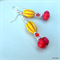 Tango - earrings - yellow, red & silver, magnesite carved beads, bicone crystal,