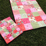 baby/toddler quilt/blanket - pink, red, green, mint, butterflies, strawberries