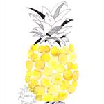 Pineapple spots dots circles tropical Watercolour art print yellow