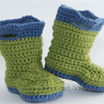 Crocheted Baby Goshalosh Booties. Size 0-3 months - 6-12 months