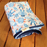 Baby Boy Blue Robot Flannel and Minky Blanket Extra Large