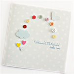 baby card rainbow buttons