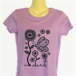 Retro Butterfly & Flower Print Purple TShirt - screen print -ladies sizes avail