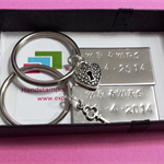 2x Hand stamped Couples Keyring each with charm or crystal