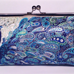 Silver peacocks large clutch purse