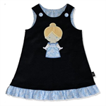 SIZE 0 Navy Corduroy Applique Embroidered Pinafore - Princess