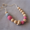 Organic Wood Bead Necklace / Medium Pink & Blue / Breastfeeding & Nursing Mums