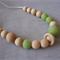 Organic Wood Bead Necklace / Lime Green / Breastfeeding & Nursing Mums