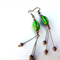 Thailand Dancer - earrings - carved green magnesite, bronze filigree bead dangle