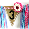 BIRTHDAY BANNER Fabric Strip Garland Burlap Bunting, Detachable Hair Clip bb3