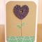 Purple Crochet Heart Flower Card