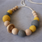 Organic Wood Bead Necklace / Yellow & Grey / Breastfeeding & Nursing