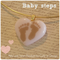 BABYSTEPS Petal Heart Artisan Glass Pendant by Curly Jo