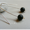 Argentium Sterling Silver range - matte black onyx bead earrings