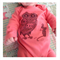 Winter onesie - Owl and mouse print on fuschia pink onesie.