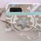 Wristlet Pouch Purse with Aqua and Grey Design