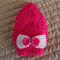 Size 2-4 yrs(+) hand knitted bright pink beanie with detachable bow