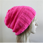Slouchy hat wide band hot pink bright neon wool blend hand knit women teen men