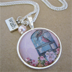 Pink bird cage Charm Necklace