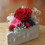 """Preserved Flower arrangement """" Floral Cake Slice"""" RED"""