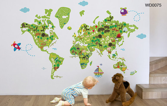 World map wall decal for kids room and nursery tikiti home decor world map wall decal for kids room and nursery gumiabroncs Image collections