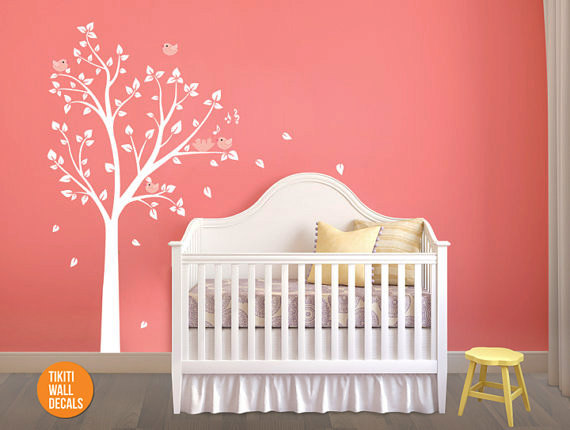 white tree wall decal wall sticker for nursery and baby rooms tikiti home decor. Black Bedroom Furniture Sets. Home Design Ideas