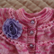 Size 0-6 mth baby cardigan / jacket in pinks with purple rosette & buttons: OOAK