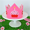 Pink & Red Cupcake Felt Crown with Ribbon Ties for Birthday / Dress Up