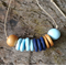 NECKLACE Navy, aqua & gold handmade polymer clay adjustable length necklace.