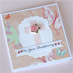 Christening Card for Girl - Pink Cross with butterflies and a paper rose