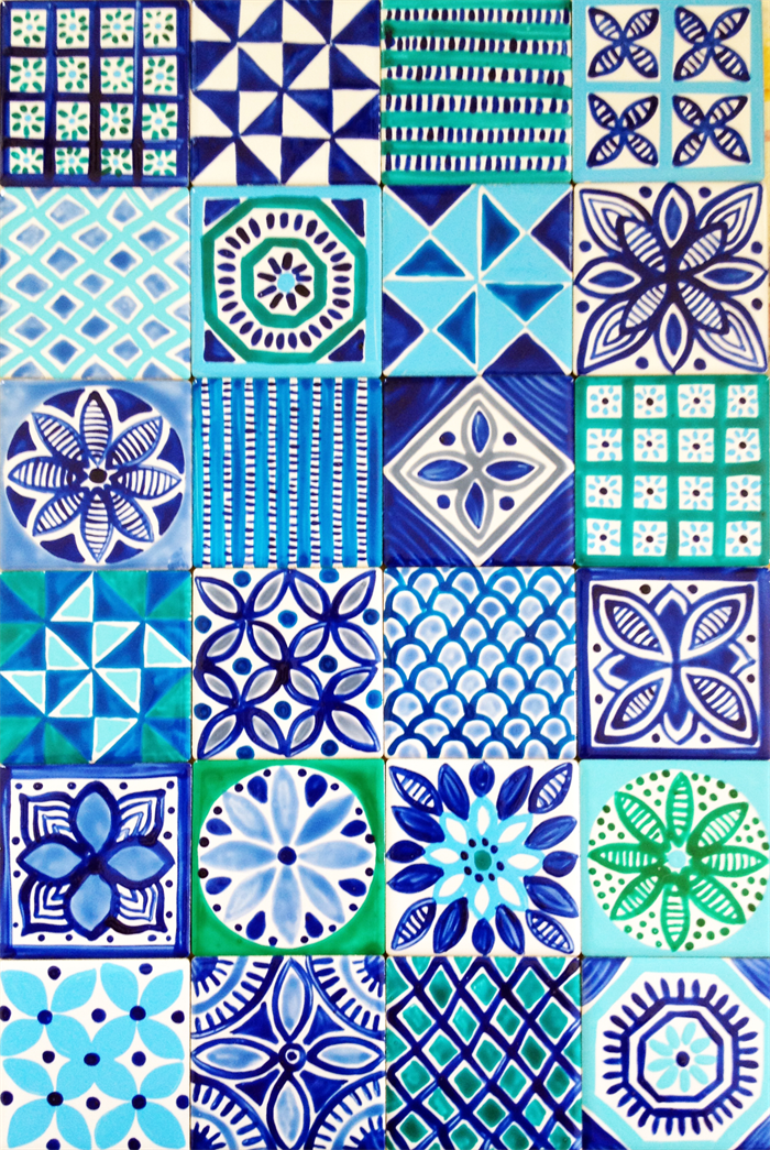 Moroccan inspired hand painted ceramic tiles for for Clay tile designs