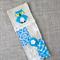 owl, aqua blue, cross-stitched, linen, screen-printed, bookmark, mum