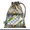 Handbag Organiser. Drawstring Bag with Window. Yellow & Grey. Ironwork.