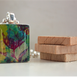 Scrabble Tile Pendant - Muted Floral